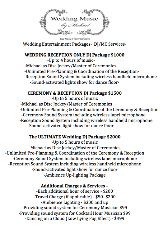 Djmc Entertainment Packages Wedding Music By Michael